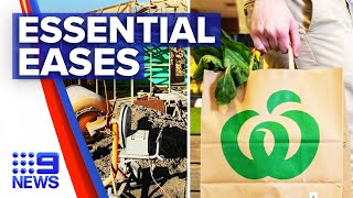 Coronavirus: Essential tradies and supermarkets ease into new restrictions | 9 News Australia