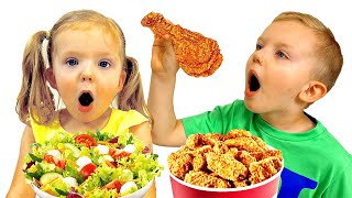 Martin and MMonica Pretend Play School & Eat not healthy  Food