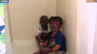 Super Kids play with paint a get it all over their faces 2
