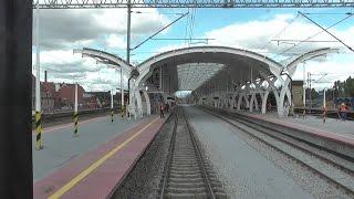 Odcinek Gliwice - Bytom - Katowice z tyłu pociągu IC Przemysław