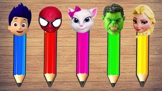 Learn Colors Wrong Heads with Paw Patrol Frozen Elsa Spiderman Hulk...