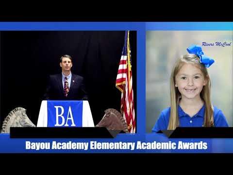 2020 Bayou Academy Elementary Academic Awards 1st 5th