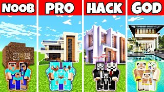 Minecraft Family Modern Summer House Build Challenge - Noob Vs Pro Vs Hacker Vs God In Minecraft