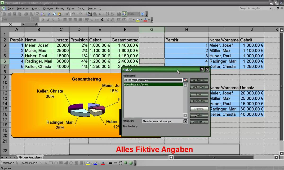 Blattschutz Excel Aufheben