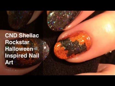 CND Shellac Rockstar Glitter Halloween Nail Art with Bats & Pumpkins xDBDx