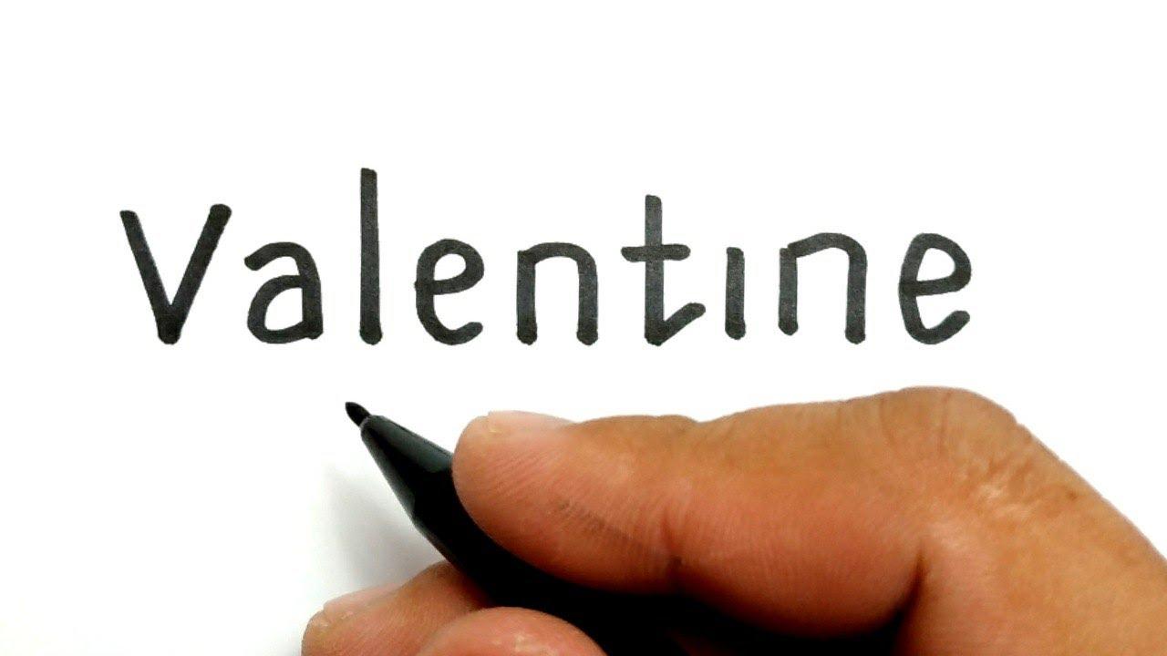 KEREN Cara Menggambar Kata VALENTINE Menjadi Pasangan Jatuh Cinta