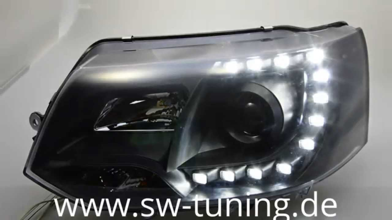 sw drl scheinwerfer vw t5 gp facelift black led tfl sw. Black Bedroom Furniture Sets. Home Design Ideas