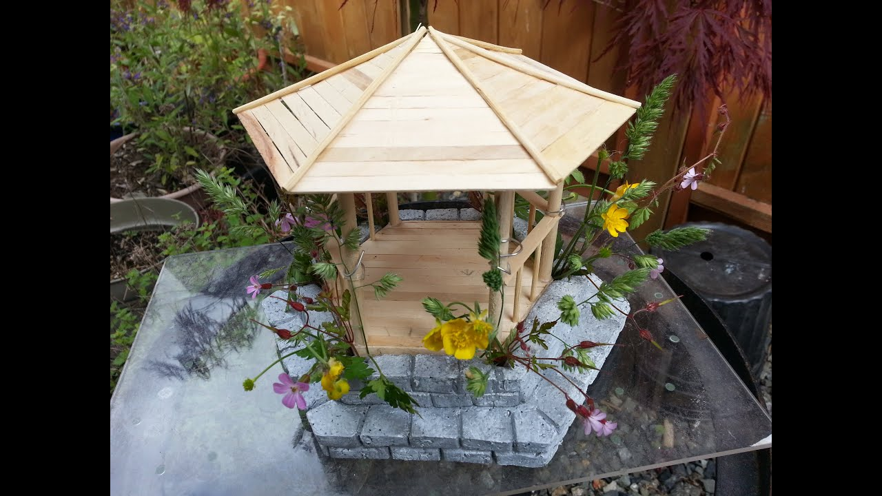 Diy Miniature Gazebo With Real Plants Youtube