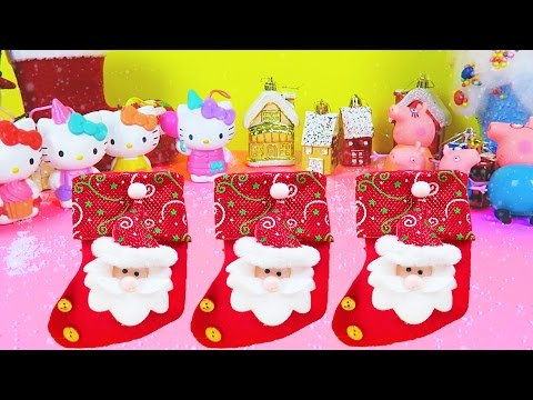 PEPPA PIG & HELLO KITTY Christmas Surprise Stockings and Santa Boots | Christmas Songs for Children