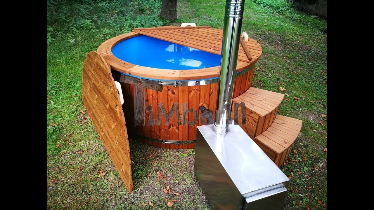 Outdoor SPA Hot Tub with external wood burner - fiberglass model ...