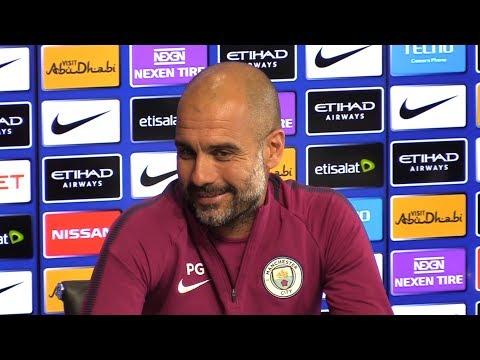 Pep Guardiola Pre-Match Press Conference - Watford v Manchester City - Embargo Extras