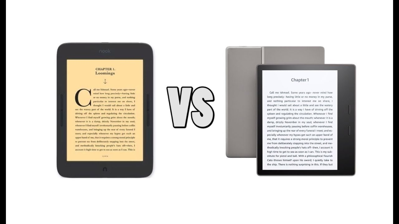 Nook Glowlight Plus 7 8 vs Amazon Kindle Oasis 2