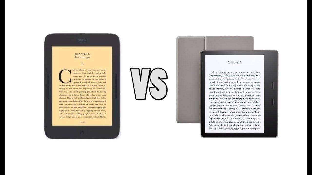 Nook Glowlight Plus 7 8 vs Amazon Kindle Oasis 2
