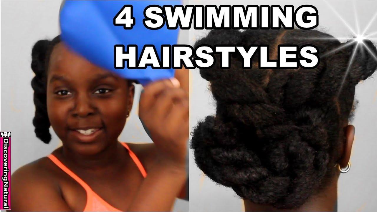 4 quick and easy swim natural hairstyles | pool hair | beach hair | natural hair