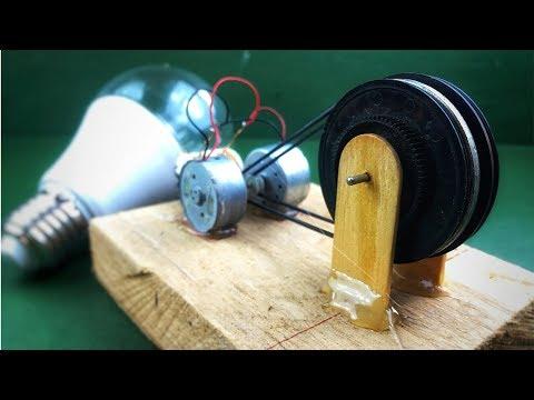 Electricity free energy self running machine with dc motor using bostai drill generator