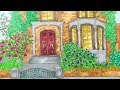 Country Home Flowers & Trees Garden Gate Landscape Illustration  | Simple Life Art