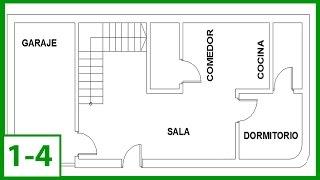 Autocad - Cómo Dibujar un plano de una casa en autocad 2015 - (parte 1/4)