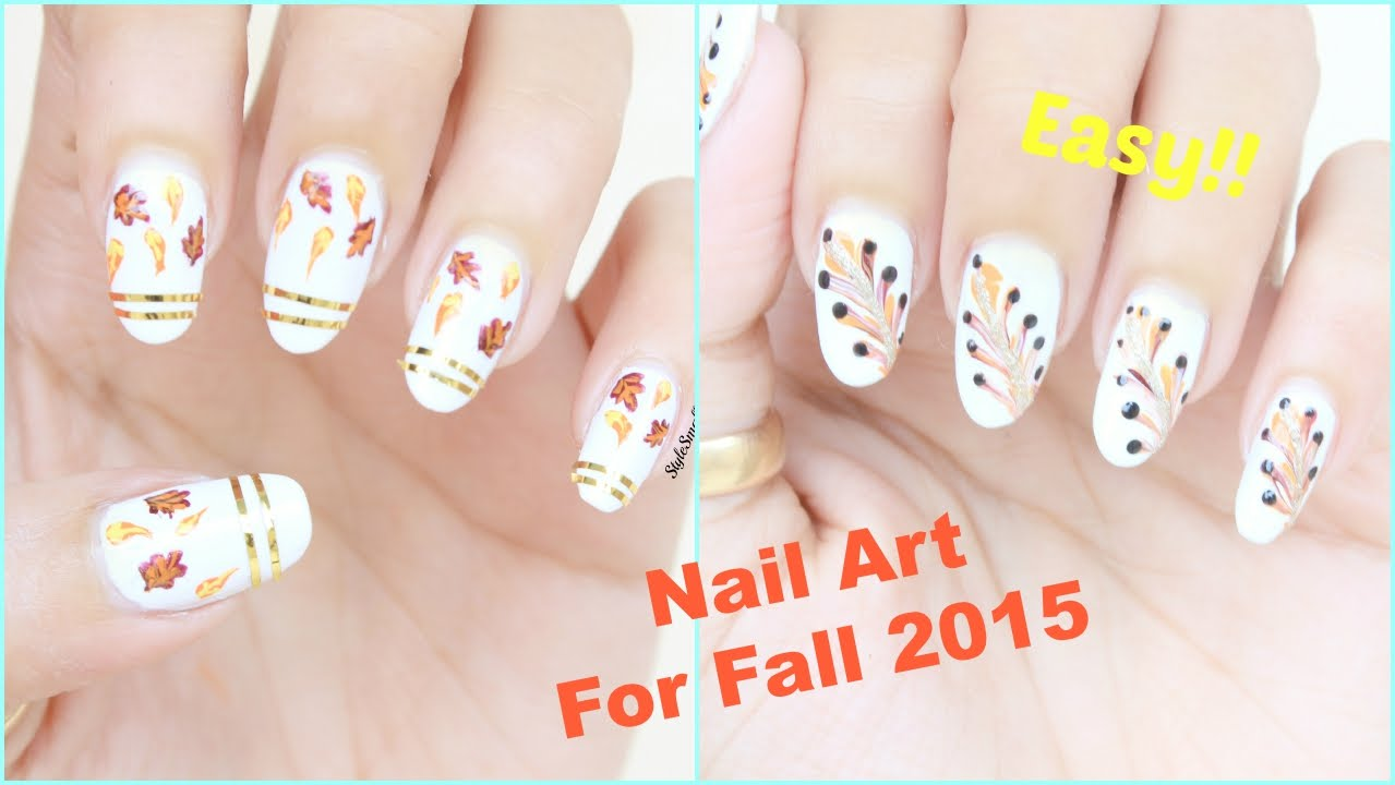 2 easy nail art for fall autumn nail art tutorial youtube prinsesfo Gallery