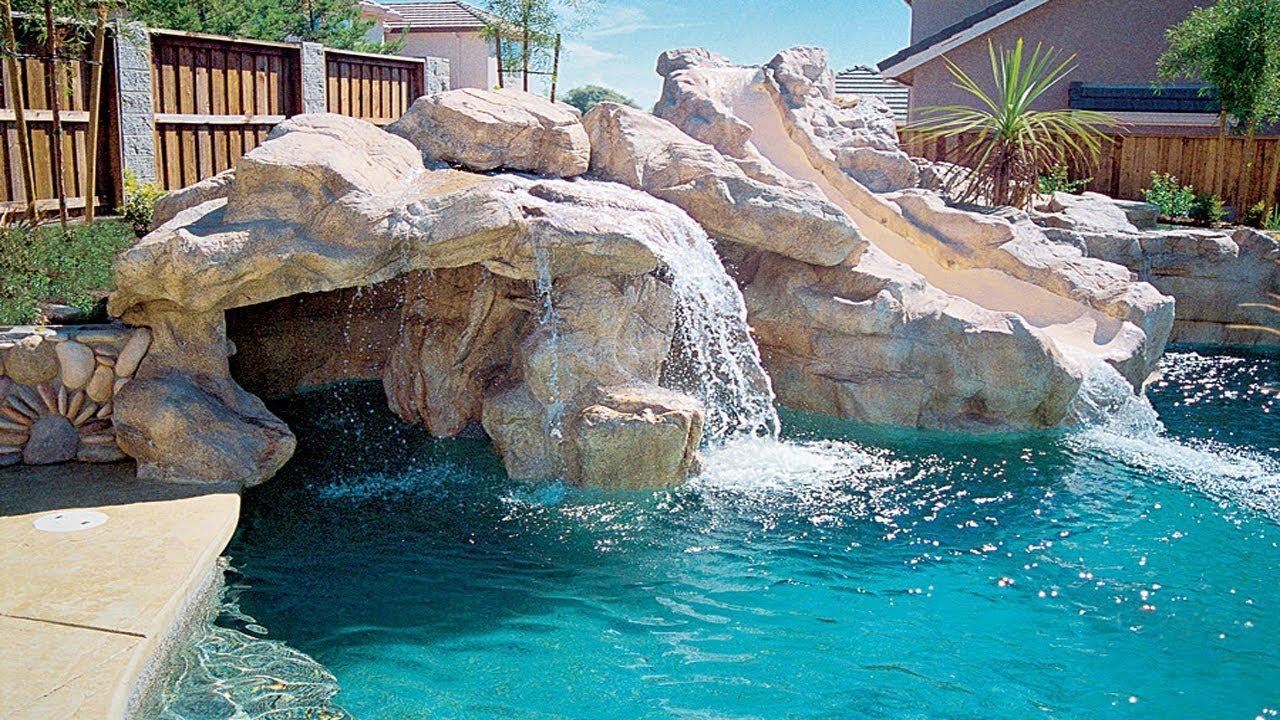 Swimming Pool Waterfalls Construction Youtube