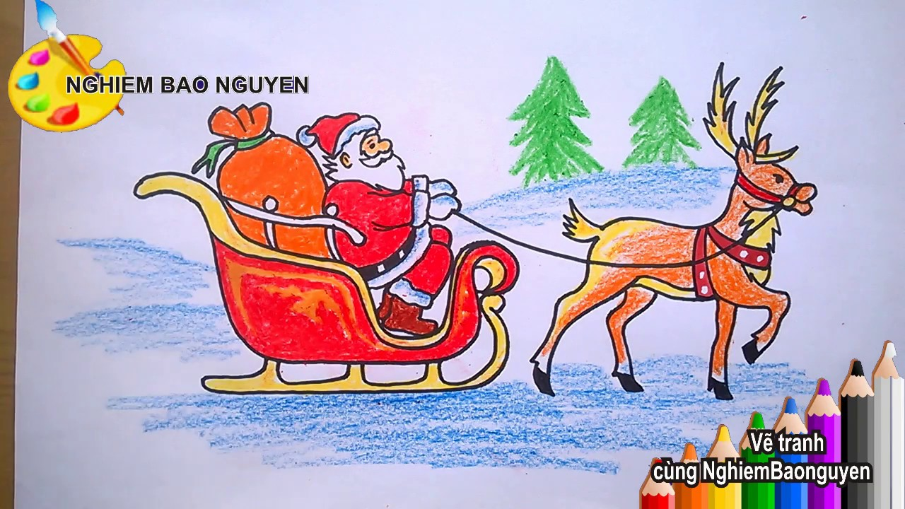Vẽ Ông già Noel đi tặng quà/How to Draw Santa Claus delivering presents   Khái quát những thông tin nói về cách vẽ ông già noel và tuần lộc mới cập nhật