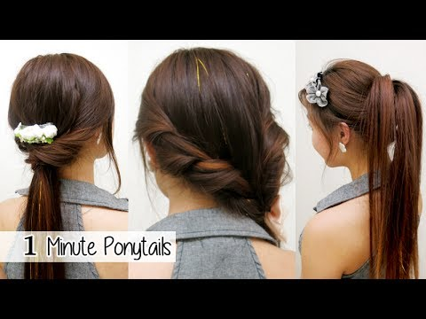 1 Minute Ponytails TIMED L Quick Cute & Easy School Hairstyles