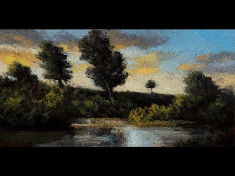 By the Pond 5×10 Tonalist Landscape Oil Painting Demonstration