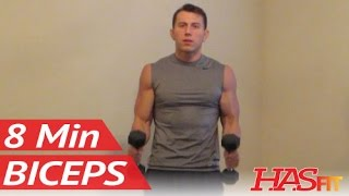 8 Minute Blasting Biceps Workout - Bicep Exercises with dumbbell - HASfit Biceps Work Out Training