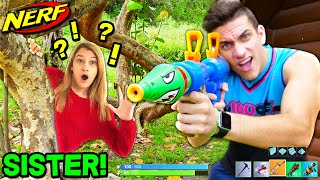 NERF WAR: FORTNITE HIDE N SEEK! SISTER VS BROTHER! 👧🏻👦🏻 (Fortnite Battle Royale In REAL LIFE)
