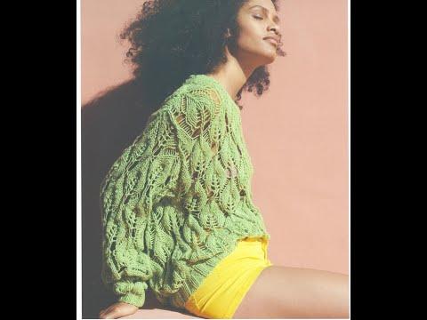 Ажурный зеленый пуловер спицами