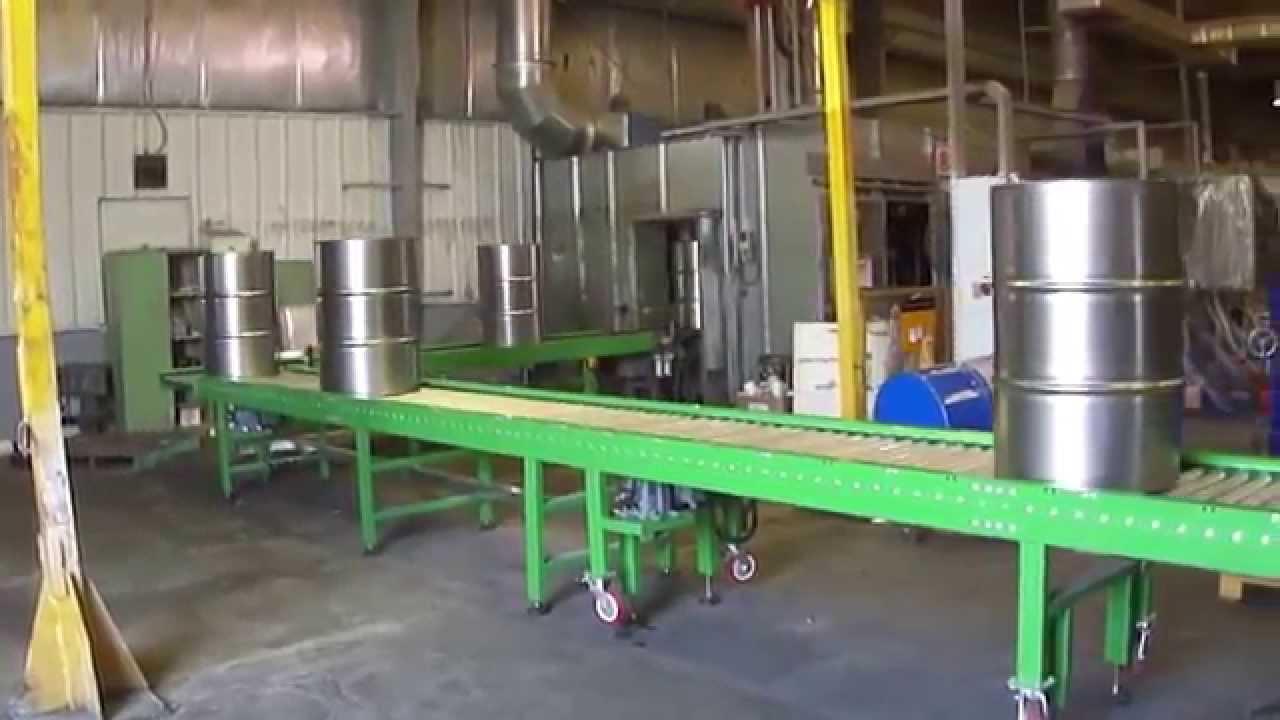 Power Roller Conveyor For Drum Industries Youtube
