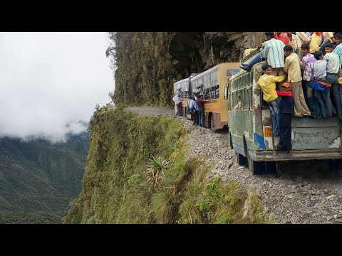 Amazing Crazy Bus VS Dangerous Roads - Bus Nearly Falls off Cliff, Crossing Extremely Muddy & St