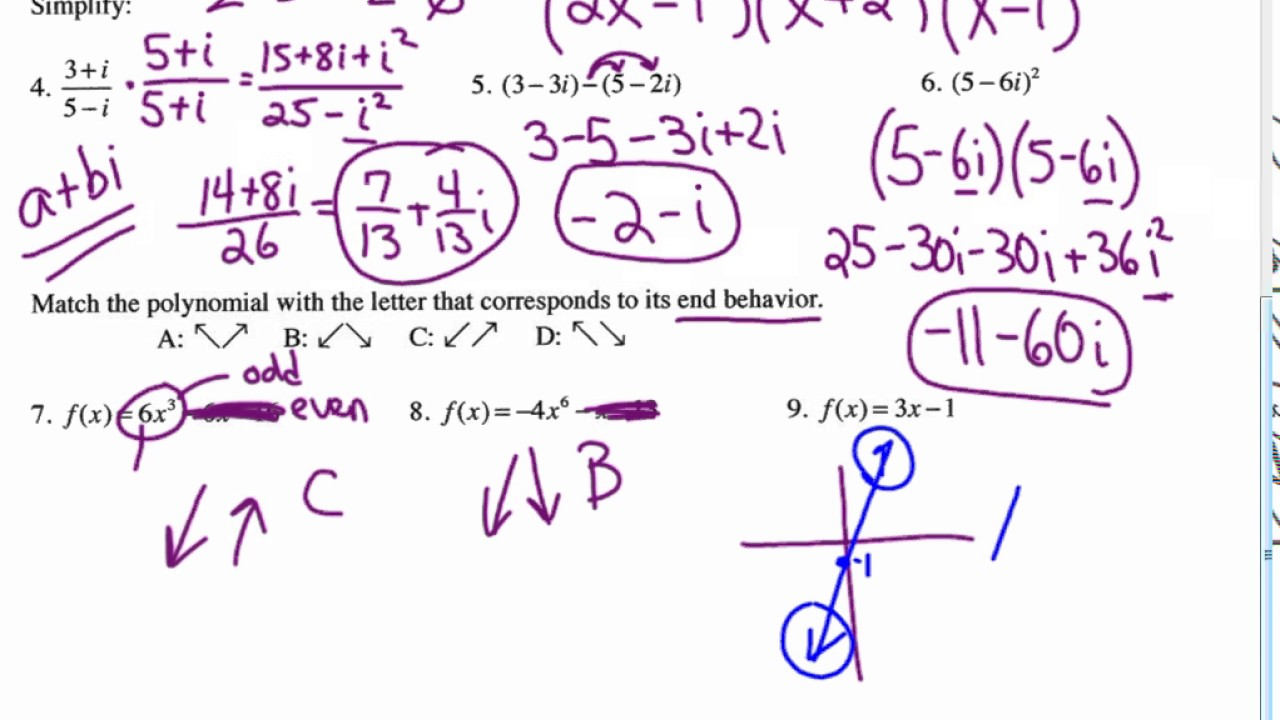 Ch 2 Rational Functions Practice Test Answer Review