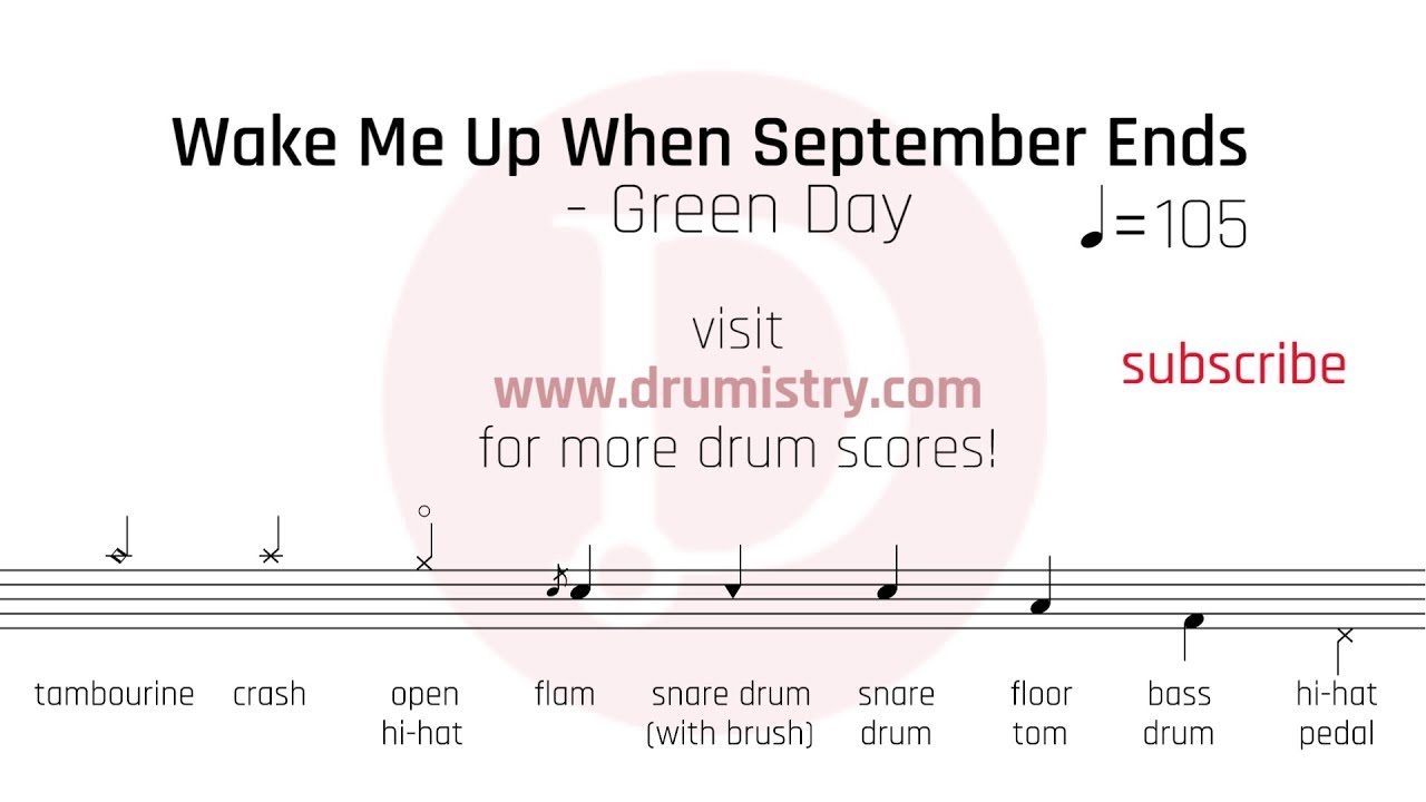 Green Day Wake Me Up When September Ends Drum Score Youtube