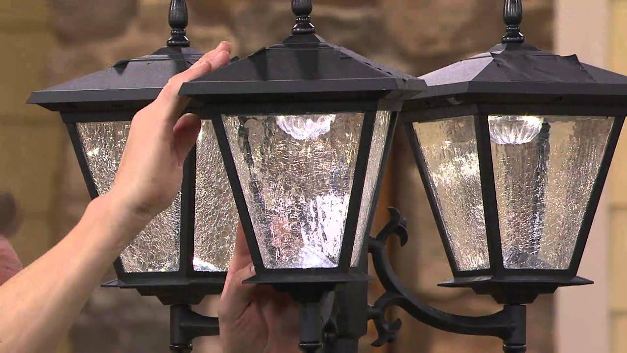 Energizer Solar 3 Head Lamp Post W Detachable Planter