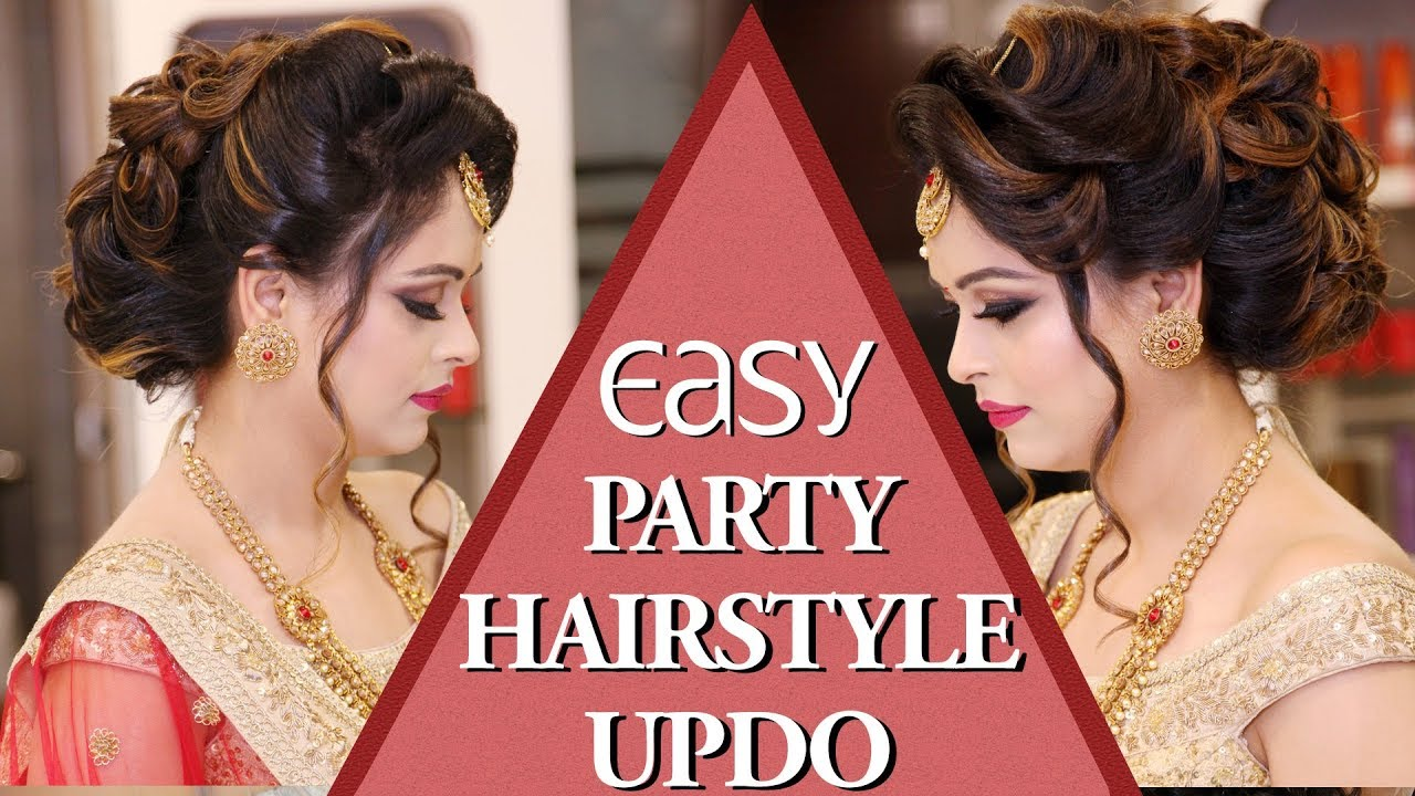 Easy Party Hairstyle BUN With Curls Tutorial Video | Party Hairstyle ...