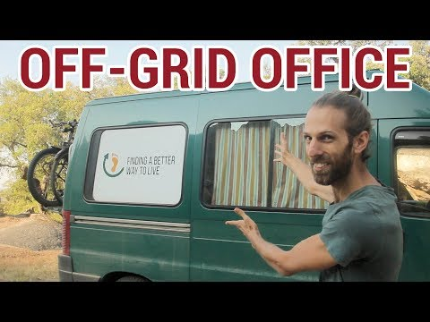 Van life: Our off-grid office with solar panels.