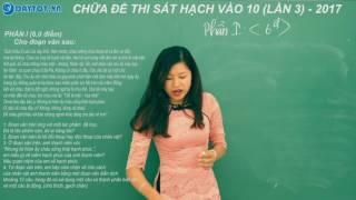 Đáp án đề thi sát hạch vào lớp 10 môn Văn - Lan 3 - 2017