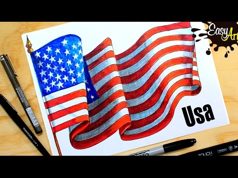 Cómo Dibujar La Bandera De Estados Unidos How To Draw The United States Flag Parte 2