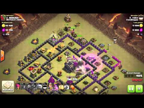 -Clash of Clans: GoWiWi War Best Attack Strategy TH9 - 3 Star Tutorial :: Update poison spell