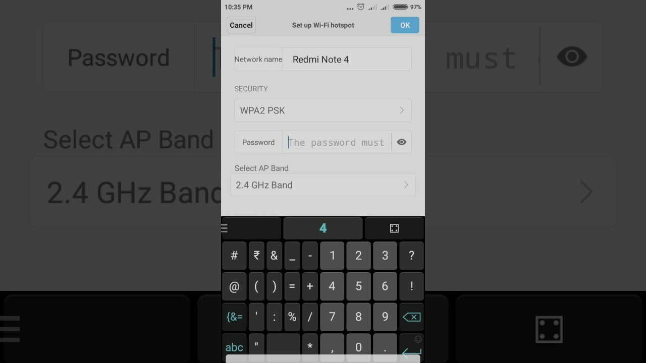 How to Setup WiFi Hotspot Password in Redmi 4 / Note 4