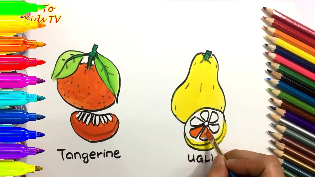How To Draw And Color TAGERINE UGLI FRUIT Coloring Pages For Kids Learn Colors