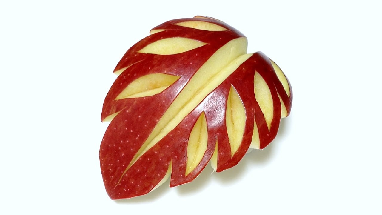 Art in apple leaf fruit carving beginners lesson by