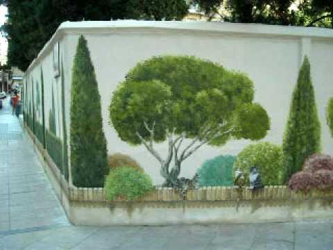 Jard n en calle sepulcro zgz spain trampantojo youtube for Jardines murales