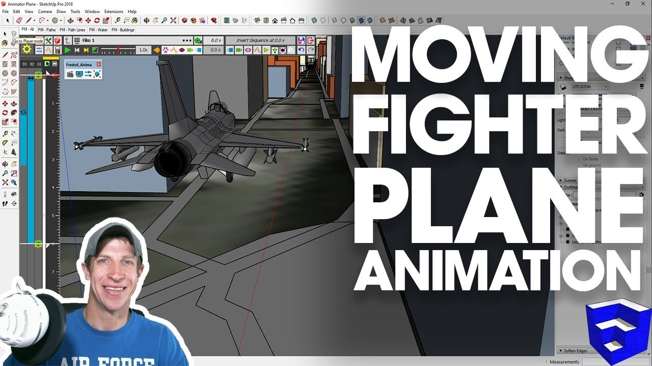 MOVING ANIMATION IN SKETCHUP with Animator - Fighter Plane!