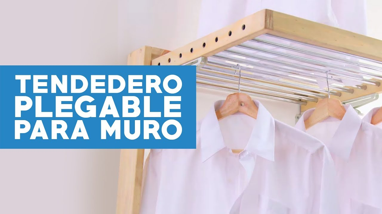 C mo hacer un tendedero plegable para el muro youtube for Como hacer un perchero de pared