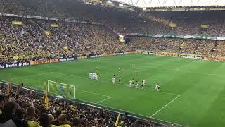4:3 Freistoßtor von Alcacer in der 96. Minute | Dortmund 4:3 Augsburg - Blick von der Südtribüne!