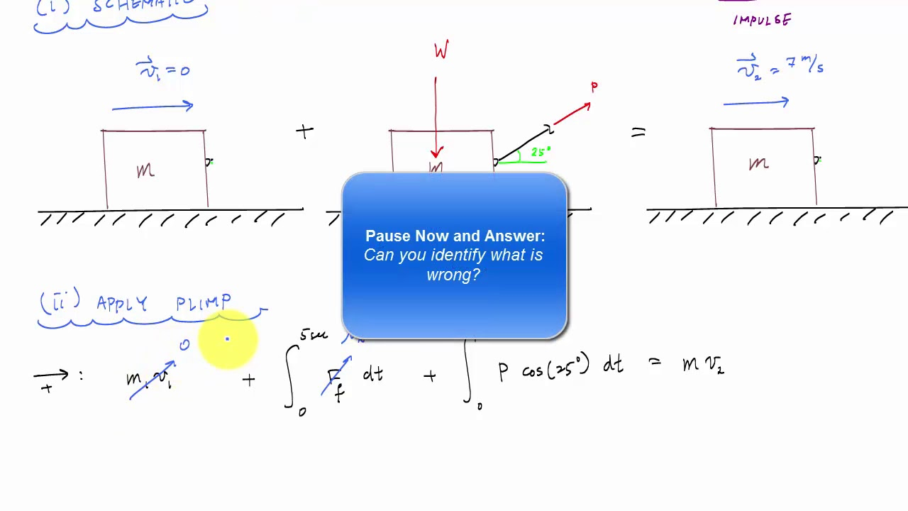 Linear Impulse And Momentum Example 2 Engineering Dynamics Youtube