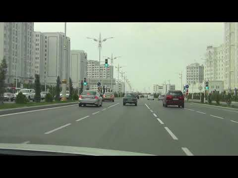 Driving in Ashgabat The City of White Marble  Turkmenistan May 2015