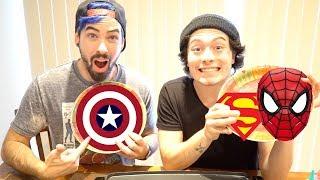 Superhero Pancake Art Challenge   Spiderman, Superman, Captain America