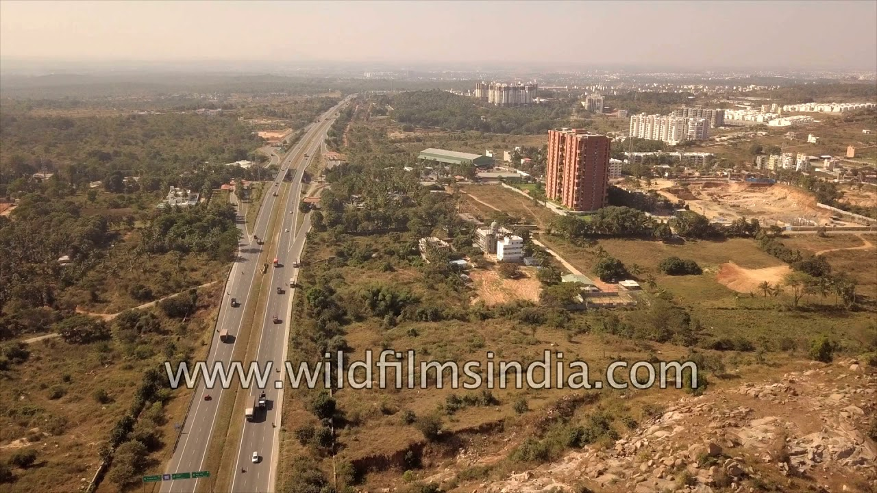 Bangalore outskirts, new residential developments, highways, freight  corridor - aerials